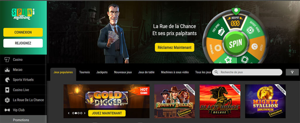 spin millions page d'accueil